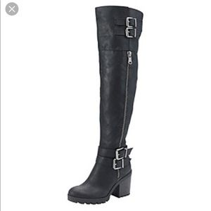 White Mountain Black Knee High Buckled Boots Sz 10